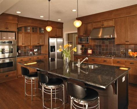 Oak Cabinet Granite Countertop   Houzz
