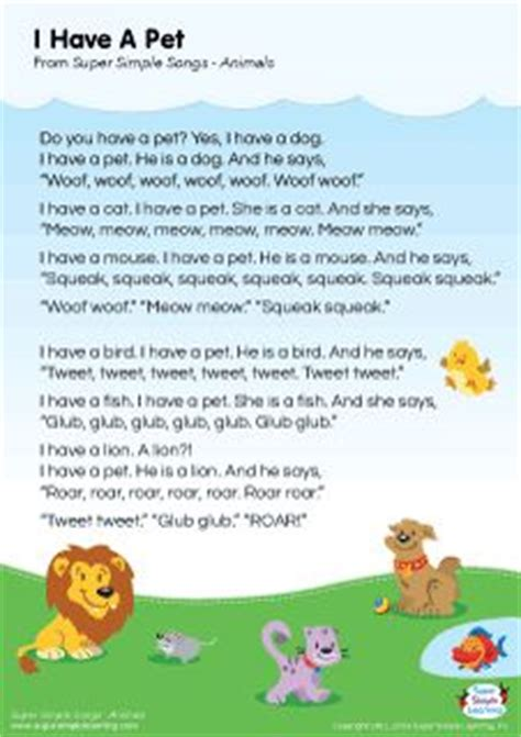 lyrics poster for quot i a pet animal song from 373 | a68848edcd379622dd680eac9f8976ff pet theme nursery rhymes