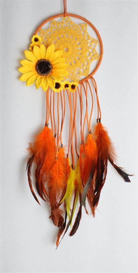 sunflower dream catcher  orange faux suede  yellow