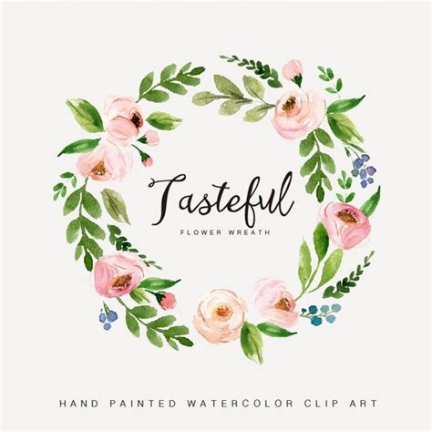 watercolor flower wreath clipart painted wedding