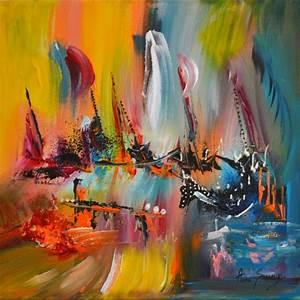 Tableau Peinture Pas Cher : tableau abstrait contemporain multicolore voguer sur l 39 arc en ciel ~ Teatrodelosmanantiales.com Idées de Décoration