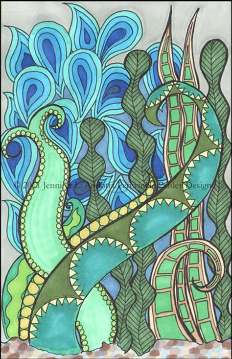 aquatic plants green  blue watery drawing