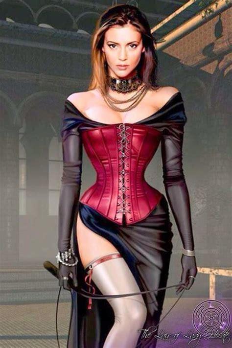 Lady in steel collar, black off-the-shoulder slit dress ...