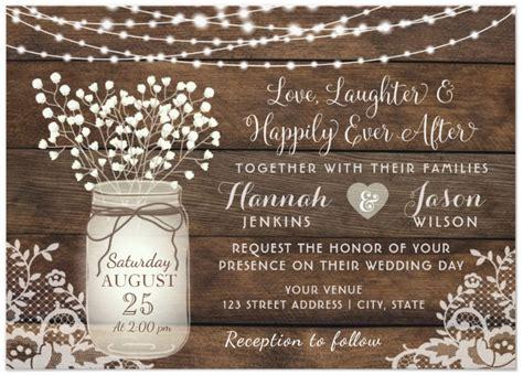 Rustic Wood Lace Wedding Invitation Mason Jar Card