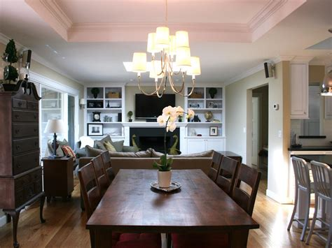 open layout dining room with traditional table hgtv
