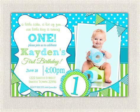 Boys 1st Birthday Invitation / Blue and Green Dots Stripes