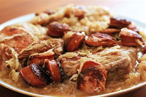 kielbasa sausage recipe stuffed pork chops with kielbasa and sauerkraut recipe simplyrecipes com