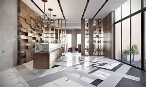 Modern lobby in Moscow combines brass, marble & special