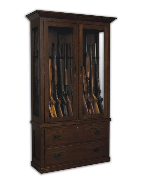 Gun Cabinet by American Mission Wooden Gun Cabinet With Drawers From