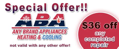 appliance repair coupons  specials  brand appliances