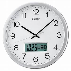 Seiko quartz wall clock white arabic dial lcd calendar for Seiko quartz wall clock