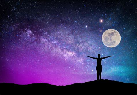 Landscape With Milky Way Galaxy Night Sky Stars