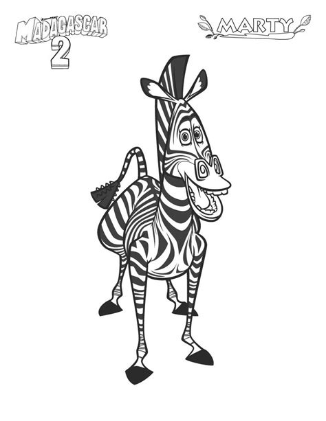printable madagascar  marty  zebra coloring pagefree