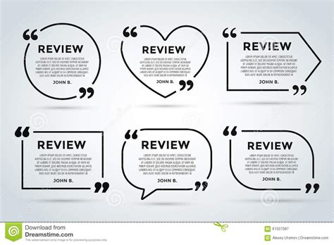 Website Review Quote Blank Template Stock Illustration