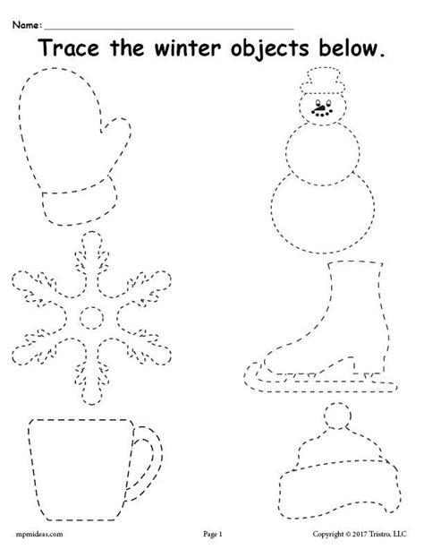 free printable winter tracing worksheet supplyme