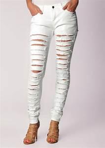 White Ripped Skinny Jeans For Women | Bbg Clothing