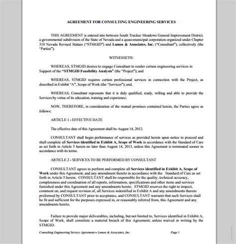 Engineering Services Contract Template by Consulting Engineering Services Contract Sle Contracts