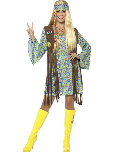60u0026#39;s Hippie Chick Costume with Dress | All Ladies Costumes | Mega Fancy Dress