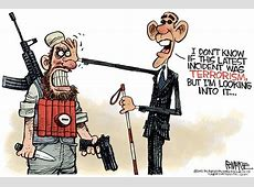 Editorial cartoon Obama's blindness with terrorism