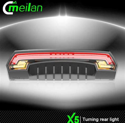 meilan x5 bicycle wireless laser rear light bike turn signal remote safety led warning