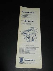 Tecumseh Bh 173 G Engines Owners Manual  U0026 Operating
