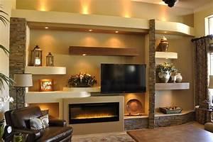 drywall entertainment center with custom entertainment ...
