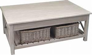 Table Basse Blanc Bois : table basse en bois avec 2 paniers ~ Teatrodelosmanantiales.com Idées de Décoration