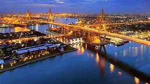 bhumibol, bridge, chaphraya, river, bangkok, thailand
