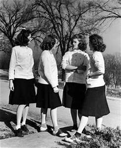 "1940's sorority house...""casual"" wear...dig the patched ..."