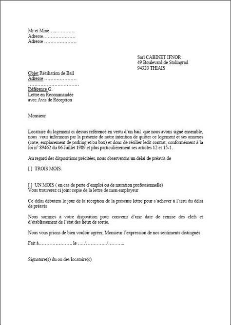 bail de bureau mod e modele resiliation bail preavis un mois document