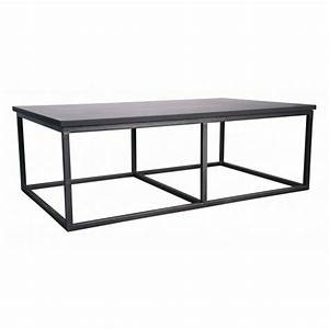 Noir stone metal ii coffee table for Metal coffee table with stone top