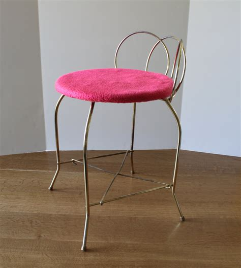 vintage vanity chair metal bench stool retro mod pink