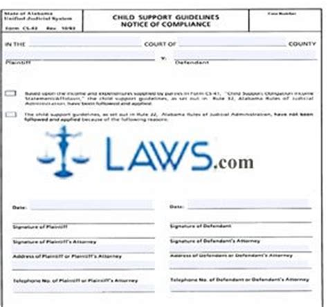 Child Support Guidelines Notice Of Compliance  Alabama Forms Lawscom