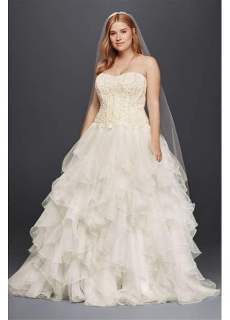 oleg cassini organza ruffle skirt wedding dress davids