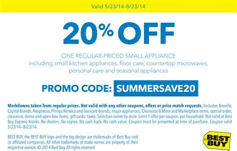 20% off a small appliance at Best Buy, or online via promo ...