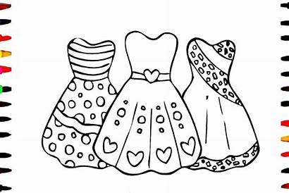 Coloring Dresses Pages Drawing Pretty Princess Colouring