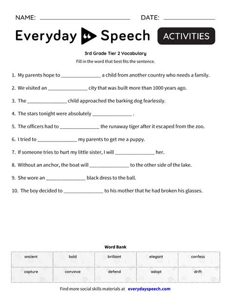 3rd grade tier 2 vocabulary everyday speech everyday speech