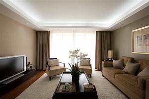 Drop ceiling lighting living room contemporary with drapes