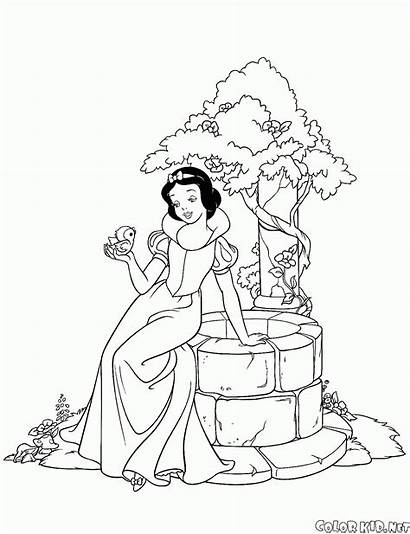 Snow Coloring Princess Well Pages Dwarfs Seven