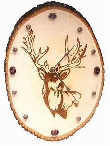 Handmade, Wood, Burned, Deer, Head, Clock, With, Red, Picture, Jasper, Gemstones, 86, 00, Via, Etsy