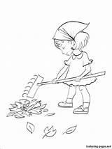 Coloring Rake Raking Pages Drawing Leaf Autumn Leaves Printable Coloriage Those Boy sketch template