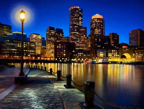 Boston Harbor Skyline Painting Of Boston Massachusetts