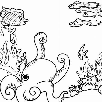 Coloring Sea Pages Ocean Monsters Printable Drawing