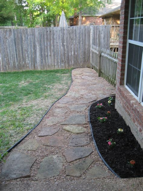 backyard walkway how to set up a flagstone patio design