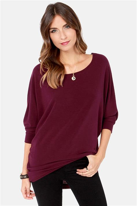 cute burgundy top oversized top