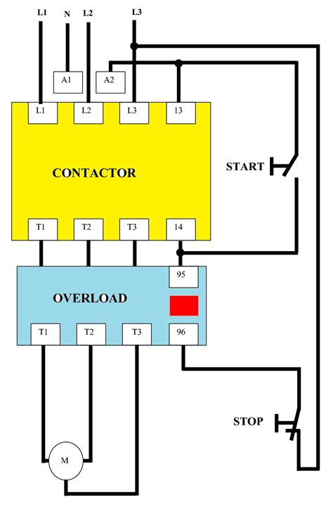 direct on line dol wiring diagram for 3 phase with 110