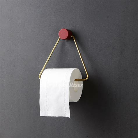 triangle toilet paper holder wood polished brass