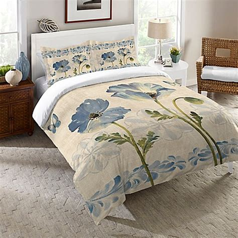 watercolor comforter set laural home 174 indigo watercolor poppies comforter in blue