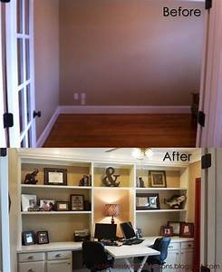 home office built with stock kitchen cabinets from lowe39s With kitchen cabinets lowes with wall art office