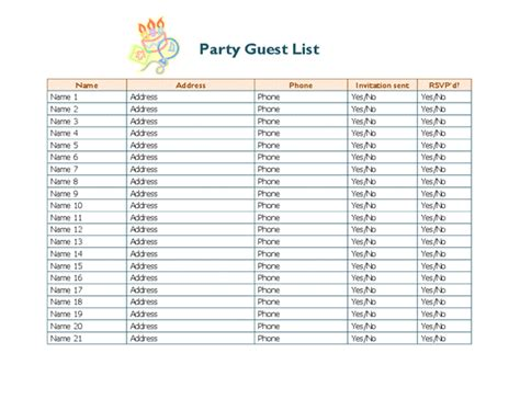 Rsvp List Template by Guest List